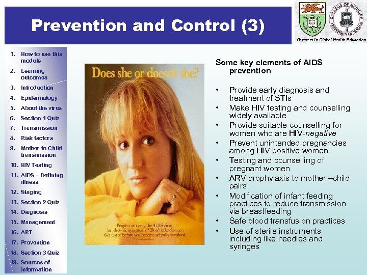 Prevention and Control (3) Prevention Partners in Global Health Education 1. How to use