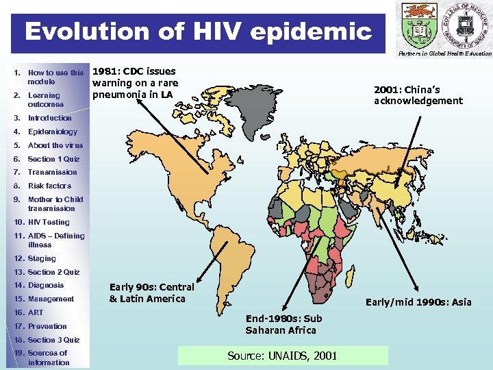 Evolution of HIV epidemic Partners in Global Health Education 1. How to use this