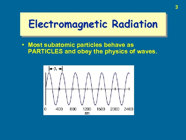 3 Electromagnetic Radiation • Most subatomic particles behave as PARTICLES and obey the physics