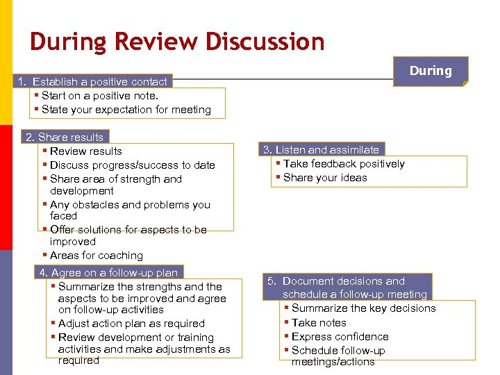 During Review Discussion During 1. Establish a positive contact § Start on a positive