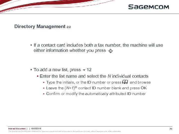Directory Management 2/2 • If a contact card includes both a fax number, the