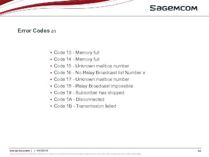 Error Codes 2/3 • • • Internal document   Code 13 - Memory full