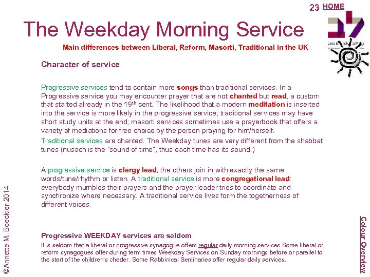 23 HOME The Weekday Morning Service Main differences between Liberal, Reform, Masorti, Traditional in