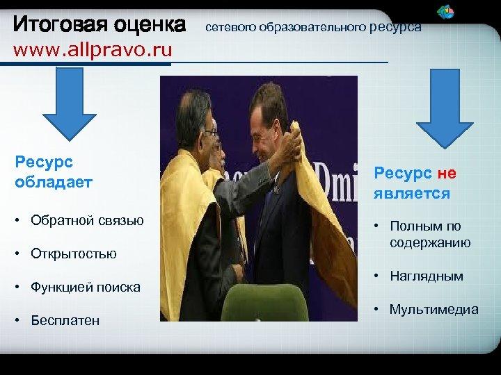 Итоговая оценка сетевого образовательного ресурса www. allpravo. ru Ресурс обладает • Обратной связью •