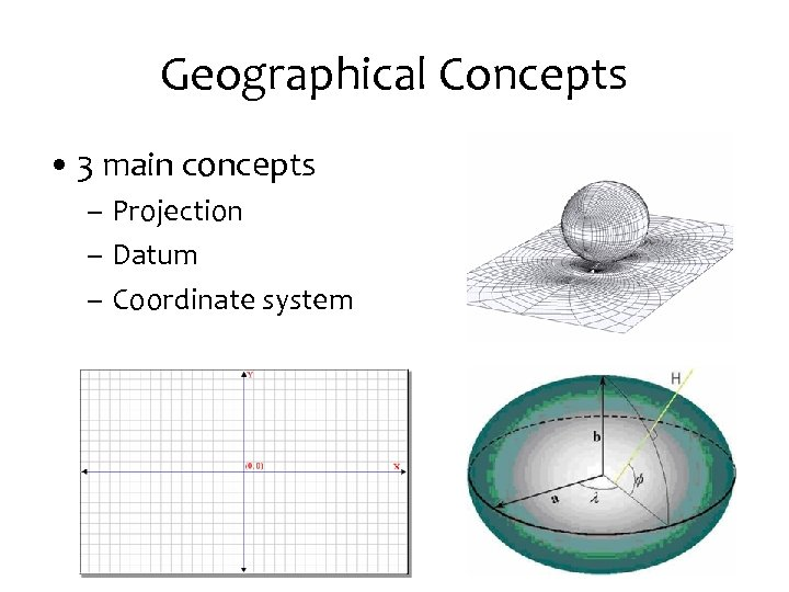 Geographical Concepts • 3 main concepts – Projection – Datum – Coordinate system