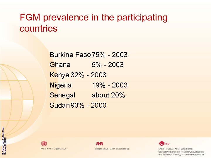 FGM prevalence in the participating countries 06_Women Health Ministers Dinner November 8 06_HB 11