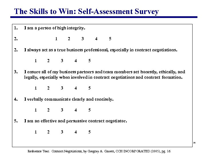 The Skills to Win: Self-Assessment Survey 1. 2. 2. I am a person of