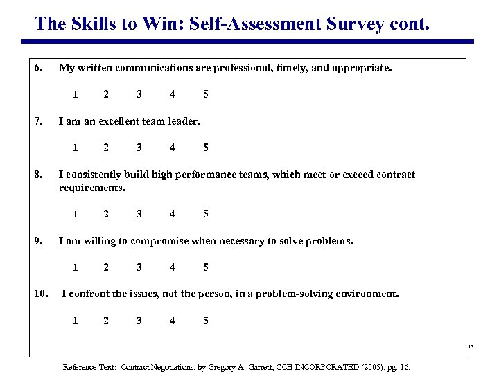 The Skills to Win: Self-Assessment Survey cont. 6. My written communications are professional, timely,