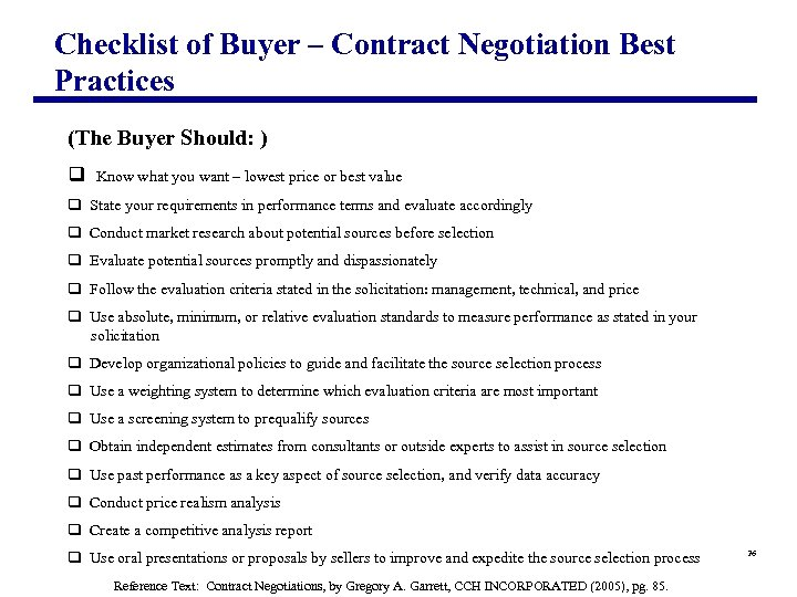 Checklist of Buyer – Contract Negotiation Best Practices (The Buyer Should: ) q Know