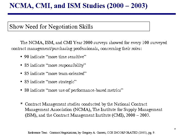 NCMA, CMI, and ISM Studies (2000 – 2003) Show Need for Negotiation Skills The