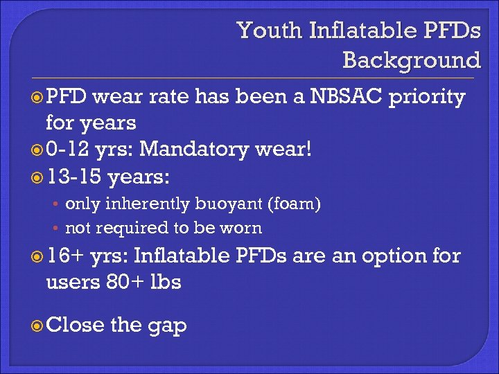 Youth Inflatable PFDs Background PFD wear rate has been a NBSAC priority for years