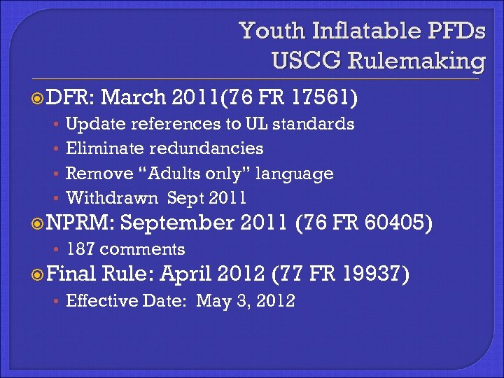 Youth Inflatable PFDs USCG Rulemaking DFR: • • March 2011(76 FR 17561) Update references