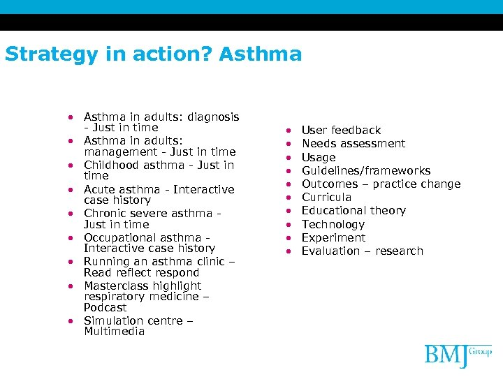 Strategy in action? Asthma • Asthma in adults: diagnosis - Just in time •