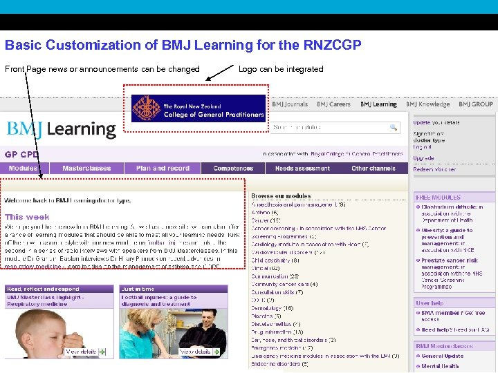 Basic Customization of BMJ Learning for the RNZCGP Front Page news or announcements can
