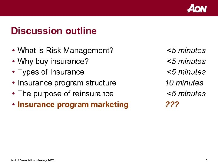 Energy Insurance and Risk Management The insurance transaction