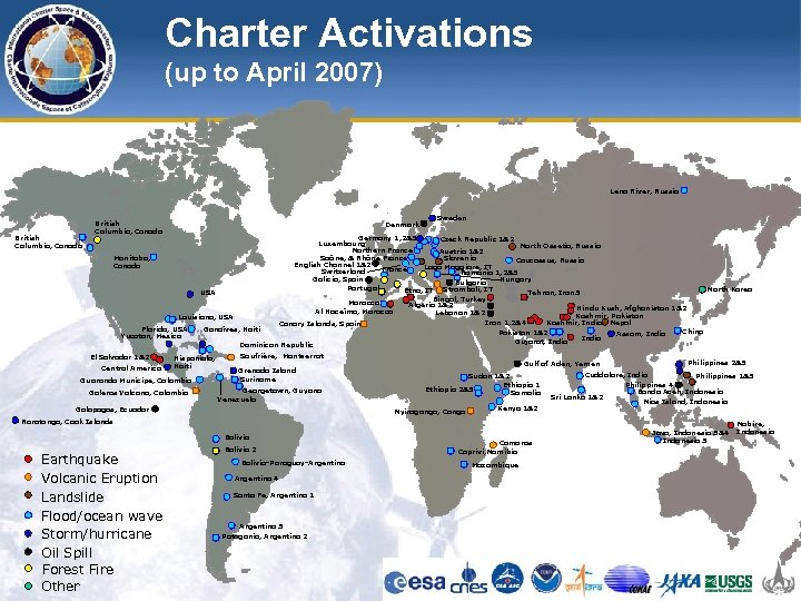 Charter Activations (up to April 2007) Lena River, Russia British Columbia, Canada Denmark Sweden