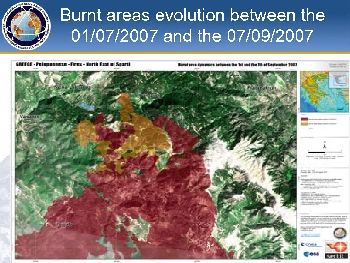 Burnt areas evolution between the 01/07/2007 and the 07/09/2007