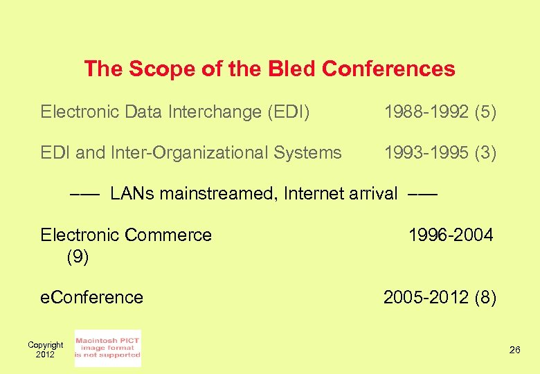 The Scope of the Bled Conferences Electronic Data Interchange (EDI) 1988 -1992 (5) EDI