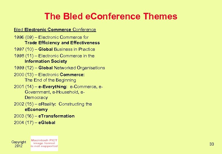 The Bled e. Conference Themes Bled Electronic Commerce Conference 1996 (09) – Electronic Commerce