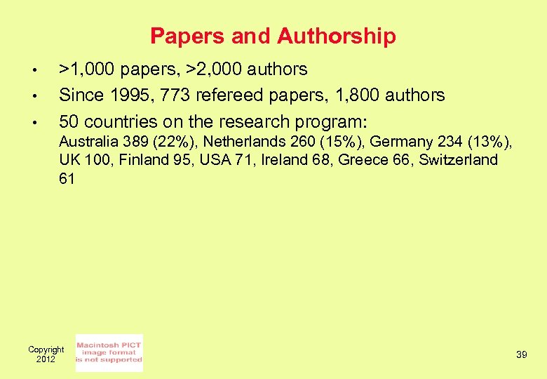 Papers and Authorship • • • >1, 000 papers, >2, 000 authors Since 1995,