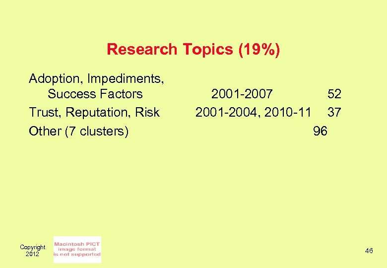 Research Topics (19%) Adoption, Impediments, Success Factors Trust, Reputation, Risk Other (7 clusters) Copyright