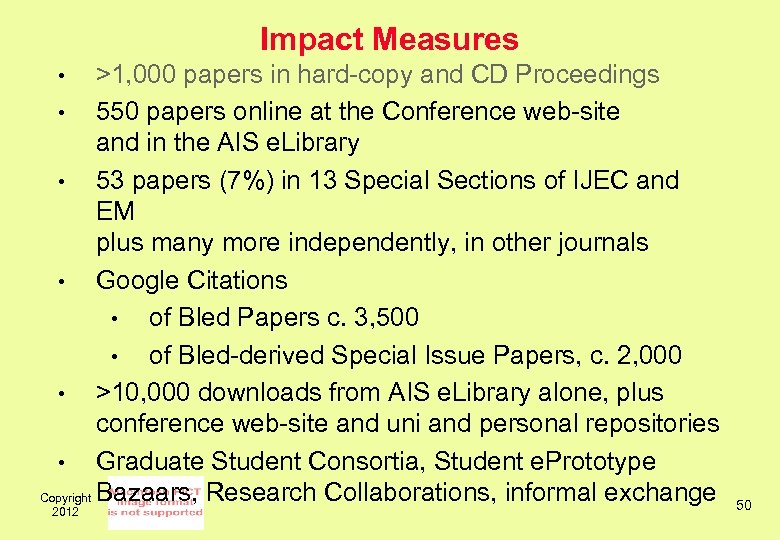 Impact Measures >1, 000 papers in hard-copy and CD Proceedings • 550 papers online