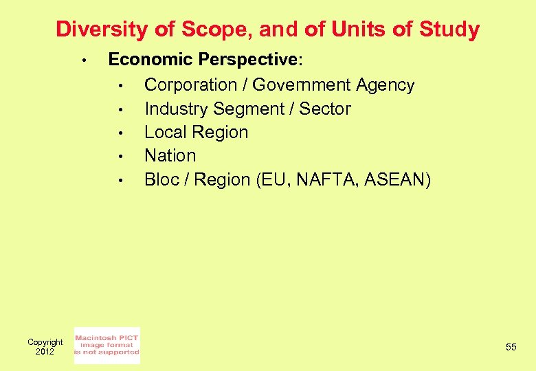Diversity of Scope, and of Units of Study • Copyright 2012 Economic Perspective: •