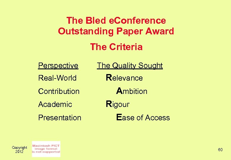 The Bled e. Conference Outstanding Paper Award The Criteria Perspective Real-World Contribution Academic Presentation
