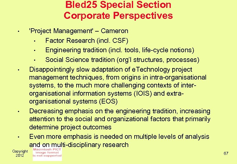Bled 25 Special Section Corporate Perspectives • • Copyright 2012 'Project Management' – Cameron