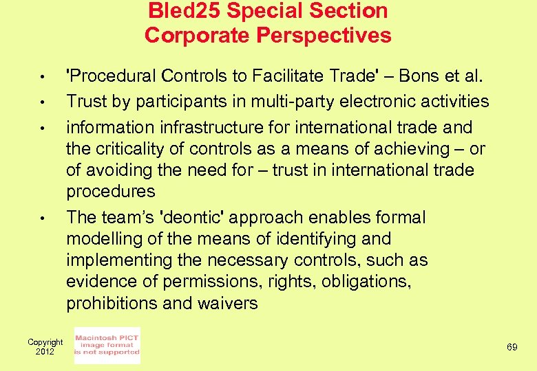 Bled 25 Special Section Corporate Perspectives • • Copyright 2012 'Procedural Controls to Facilitate