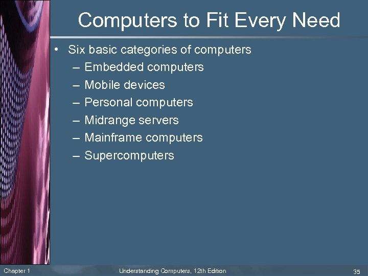 Computers to Fit Every Need • Six basic categories of computers – Embedded computers