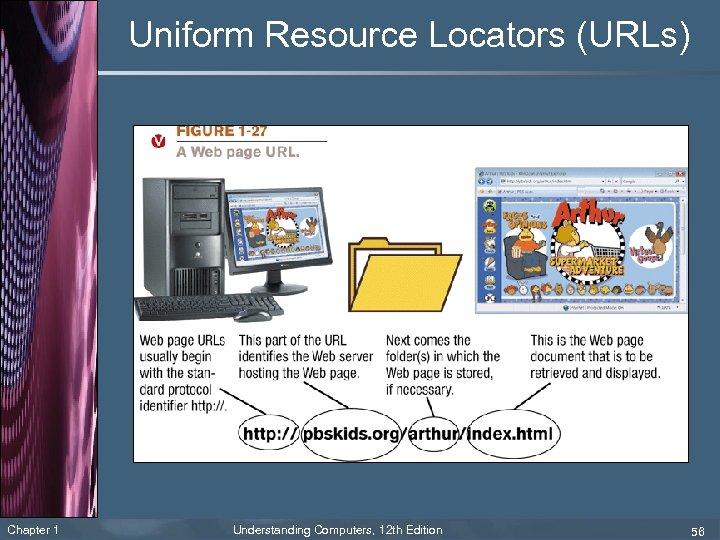 Uniform Resource Locators (URLs) Chapter 1 Understanding Computers, 12 th Edition 56