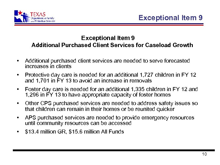 Exceptional Item 9 Additional Purchased Client Services for Caseload Growth • Additional purchased client