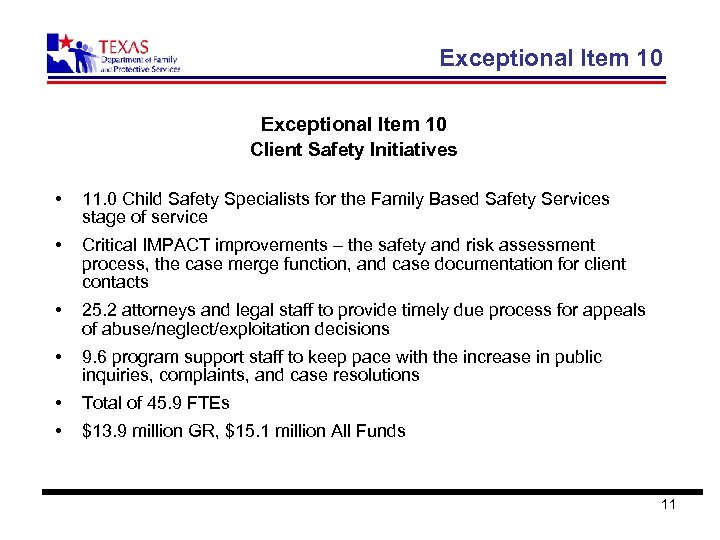 Exceptional Item 10 Client Safety Initiatives • 11. 0 Child Safety Specialists for the
