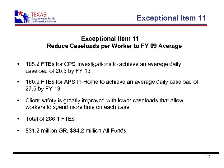Exceptional Item 11 Reduce Caseloads per Worker to FY 09 Average • 105. 2