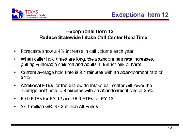 Exceptional Item 12 Reduce Statewide Intake Call Center Hold Time • Forecasts show a