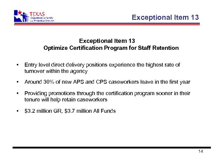Exceptional Item 13 Optimize Certification Program for Staff Retention • Entry level direct delivery