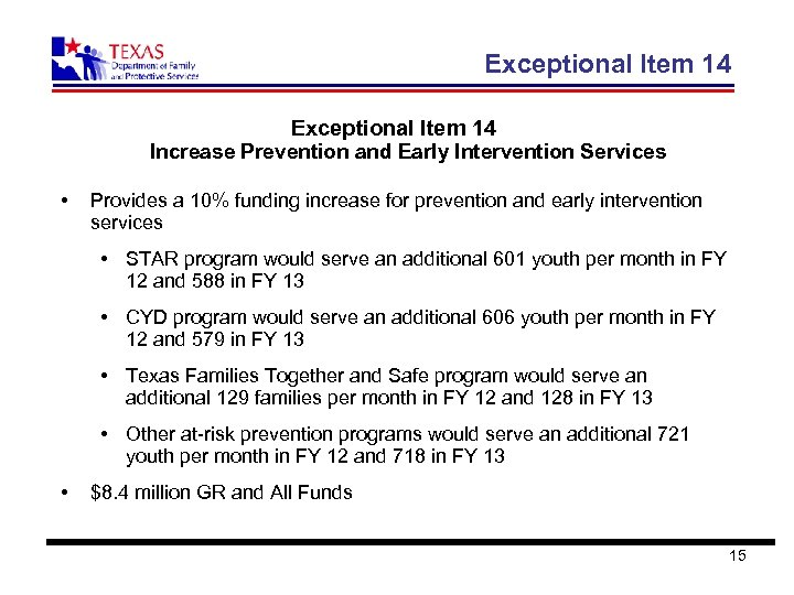 Exceptional Item 14 Increase Prevention and Early Intervention Services • Provides a 10% funding