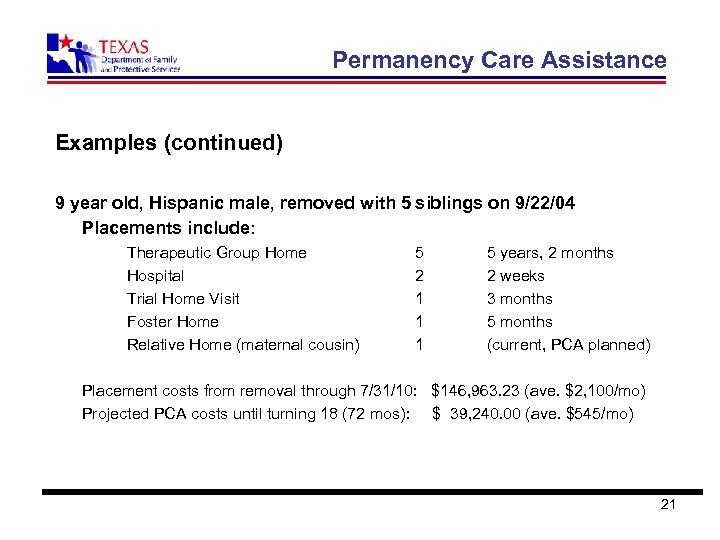 Permanency Care Assistance Examples (continued) 9 year old, Hispanic male, removed with 5 siblings