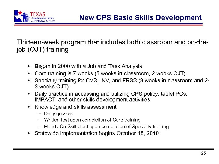 New CPS Basic Skills Development Thirteen-week program that includes both classroom and on-thejob (OJT)