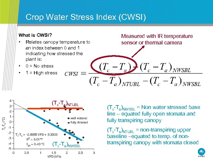 Crop Water Stress Index (CWSI) What is CWSI? • Relates canopy temperature to an