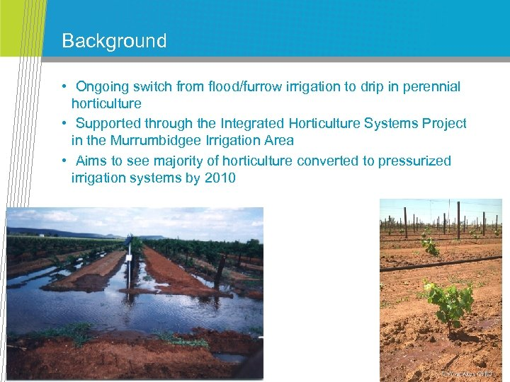 Background • Ongoing switch from flood/furrow irrigation to drip in perennial horticulture • Supported