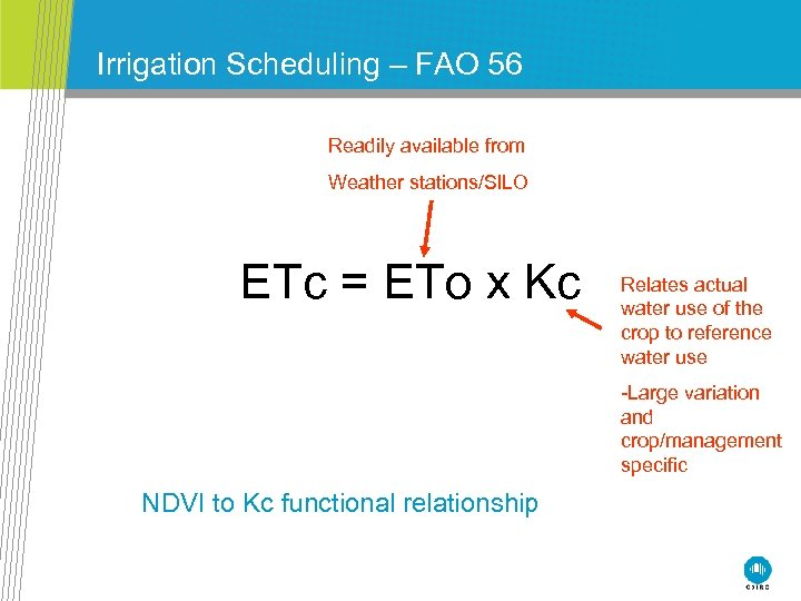 Irrigation Scheduling – FAO 56 Readily available from Weather stations/SILO ETc = ETo x