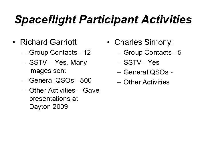 Spaceflight Participant Activities • Richard Garriott – Group Contacts - 12 – SSTV –