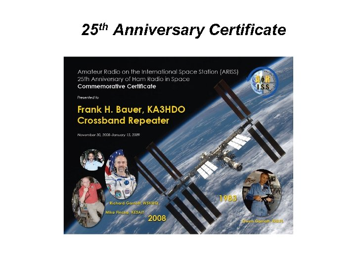 25 th Anniversary Certificate