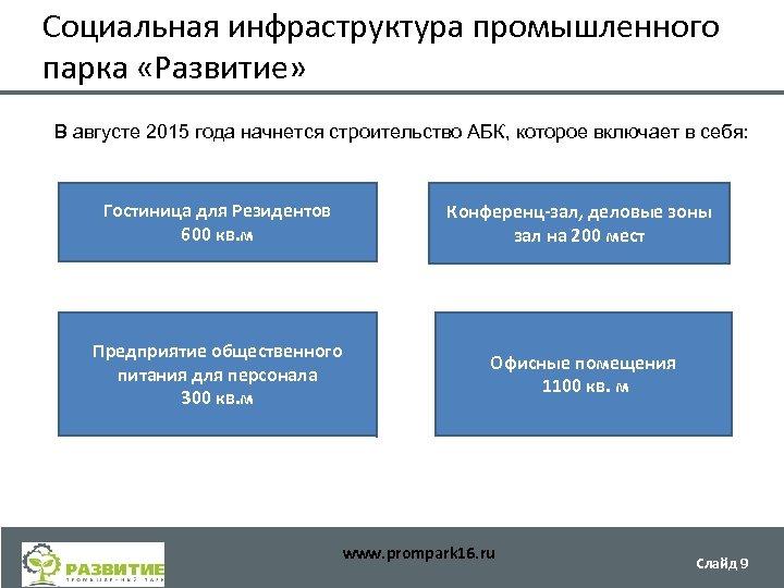 Социальная инфраструктура промышленного парка «Развитие» В августе 2015 года начнется строительство АБК, которое включает