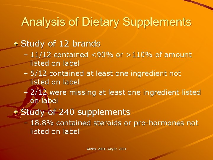Analysis of Dietary Supplements Study of 12 brands – 11/12 contained <90% or >110%
