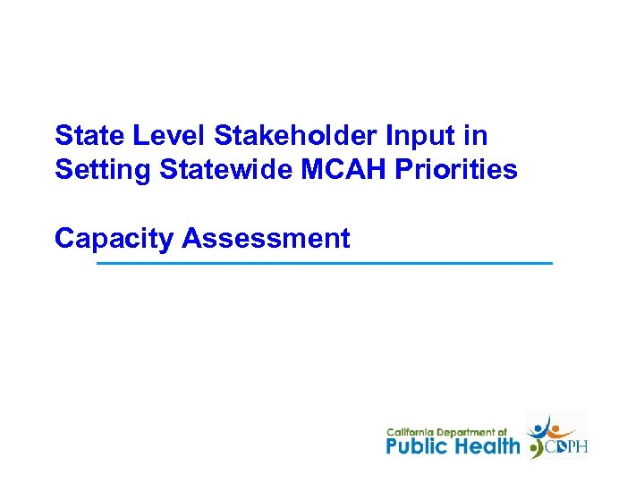 State Level Stakeholder Input in Setting Statewide MCAH Priorities Capacity Assessment