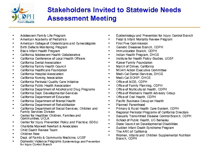 Stakeholders Invited to Statewide Needs Assessment Meeting • • • • • • •