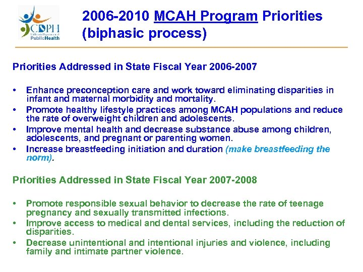 2006 -2010 MCAH Program Priorities (biphasic process) Priorities Addressed in State Fiscal Year 2006